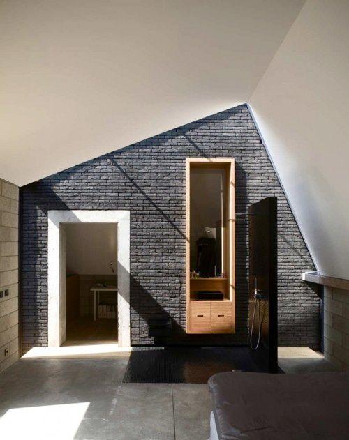 Grey brick wall. Architectural lines.