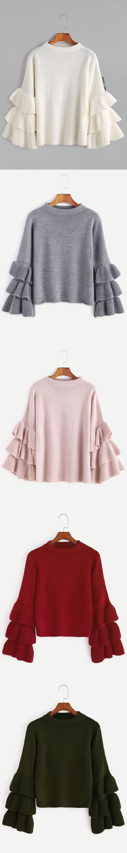 Layered Ruffle Sleeve Pullover Sweater