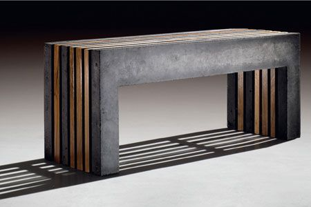 Concrete/wood bench....conctete and wood....such a winning combo
