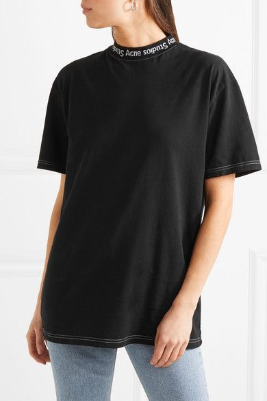 1efb05e94 Acne Studios - Gojina oversized intarsia-trimmed cotton-jersey T ...