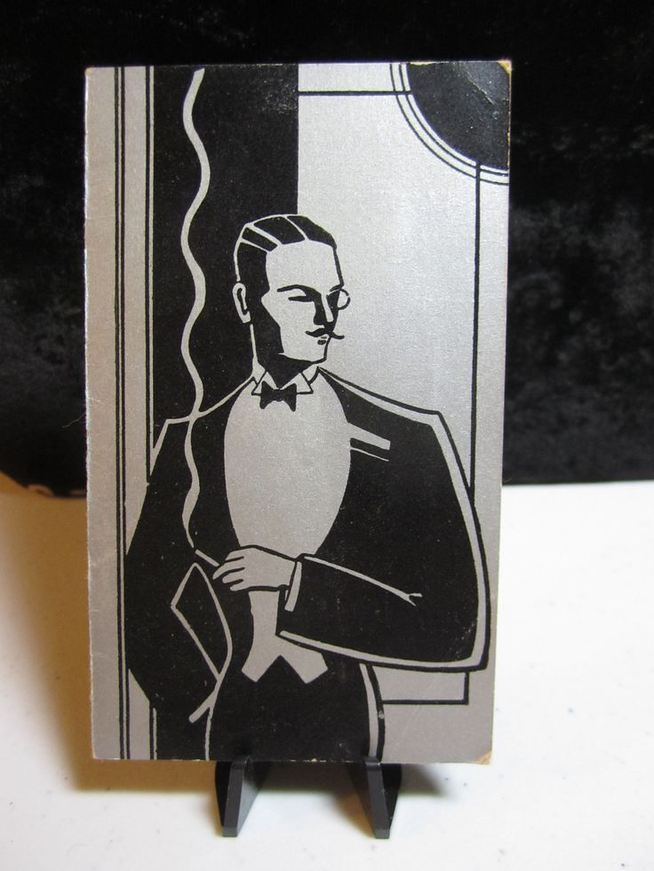 1930s art deco buzza bridge tally from the Hollywood  series sophisticated man with pencil mustache lit cigarette Maurice Chevalier. $6.50, via Etsy.