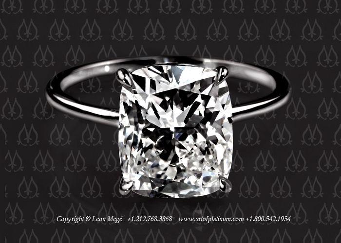 This is the one I REALLY want!!!!!!! Cushion diamond engagement ring by Leon…