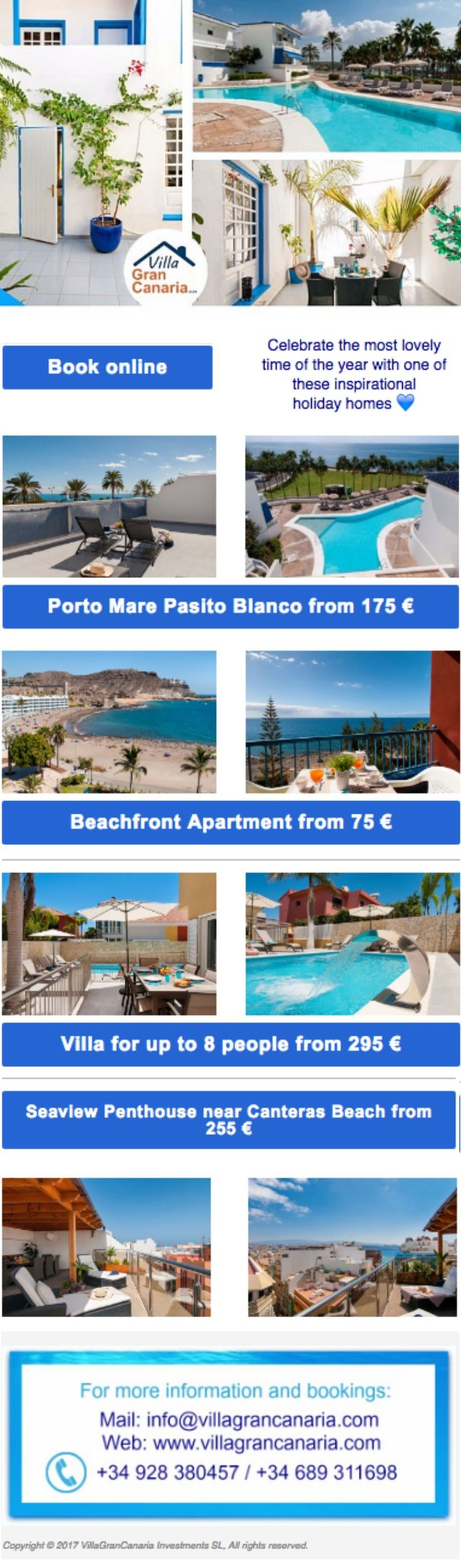 Newsletter Design. Rentals, vacation homes. Canary Islands, Spain.