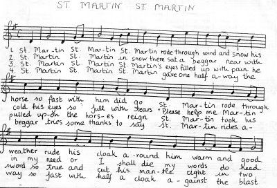 Yes!! Just in time. The song grades 1,2 and 3 sing in the Martinmas pageant at PWS. sheet music/lyrics to the St. Martin song