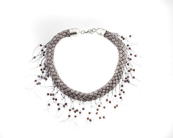 Bib Necklace  Statement  Necklace Wooven Rope by EleannaKatsira, €75.00