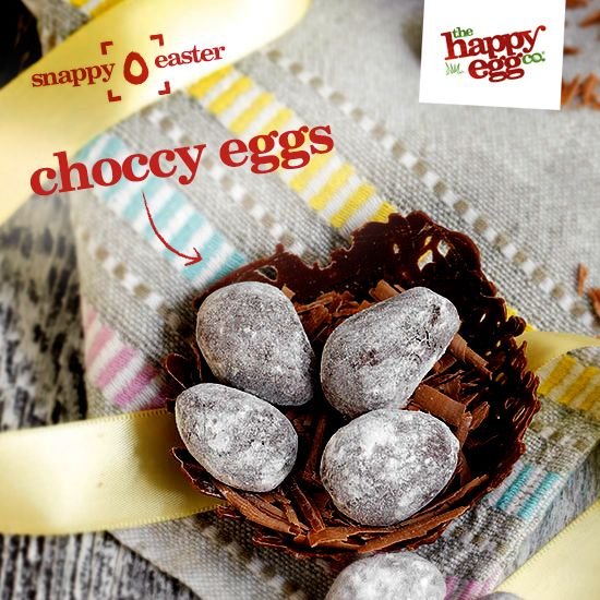 Chocolate nests with salted chocolate truffle eggs: http://thehappyegg.co.uk/our-recipes/recipe/chocolate-nests-with-salted-chocolate-truffle-eggs