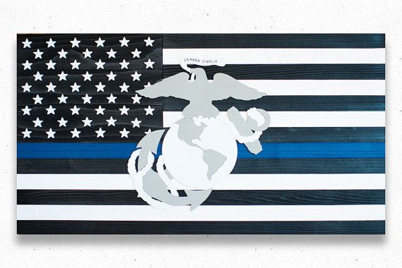 Thin Blue Line Marine Wood Flag Thin Blue Line by PatriotWood