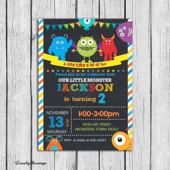 Little monster Birthday Invitation Little by LovelyDesings on Etsy