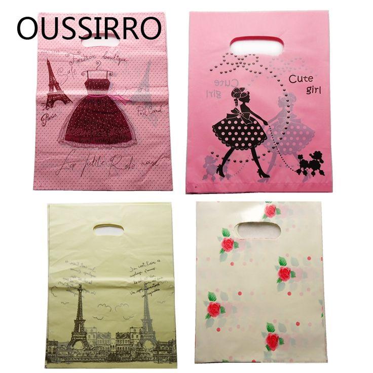 48-50 Pcs Fasion Meninas Kawaii Sacos de Plástico Para Embalagem Jóias Saco Do Presente Sacos de Compras Com Alça 9*15 CM Bolsas De Regalo