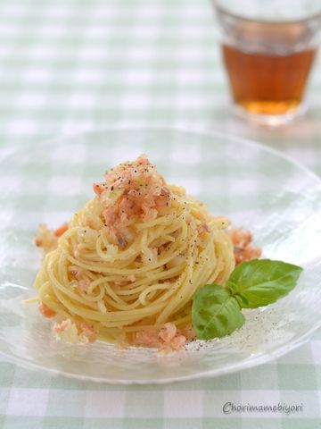 キラキラサーモンの冷製スパゲッティ。と、美味しい簡単~鮭フレーク ...