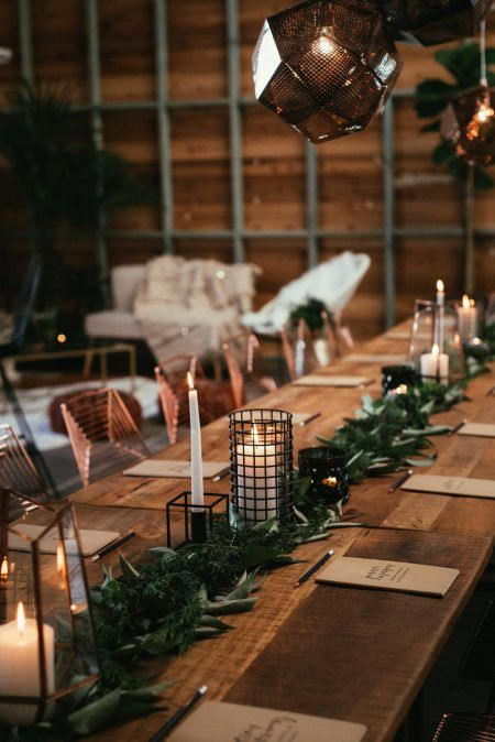 moern copper and black industrial wedding design #modernwedding #copperdecor #weddingdecor