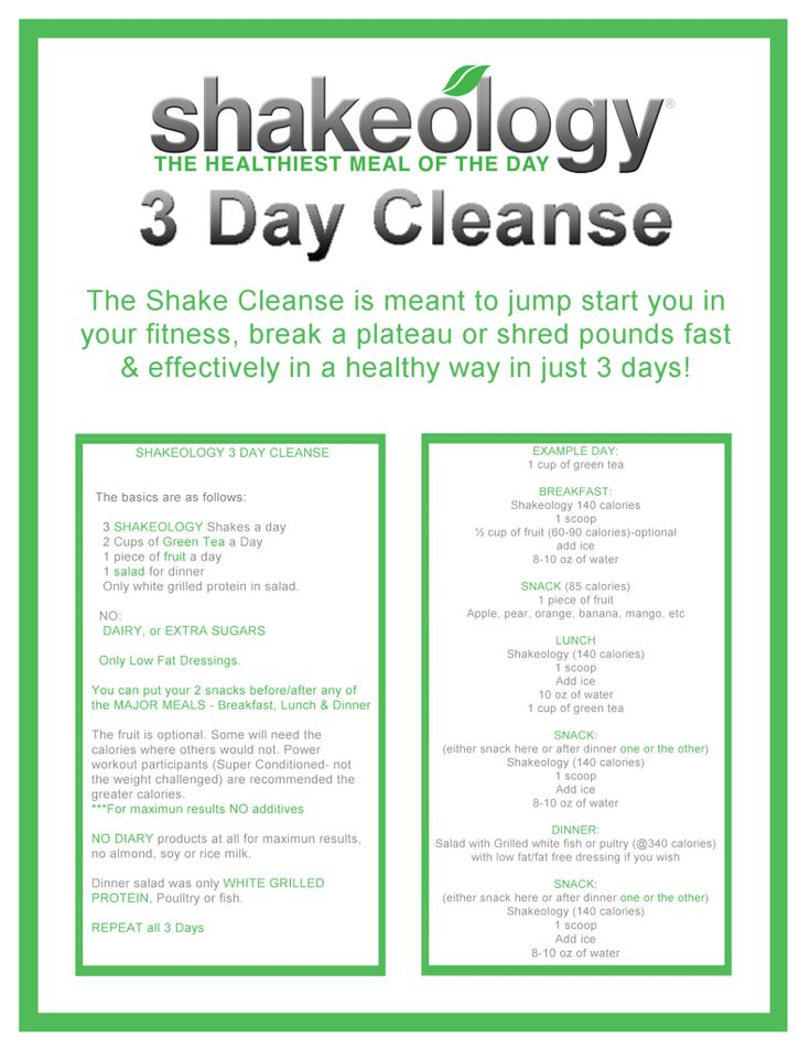 The Shakeology 3-Day Cleanse is designed to help give you a jump start to your weight loss, break through a plateau, or shed weight in a fast & healthy way.