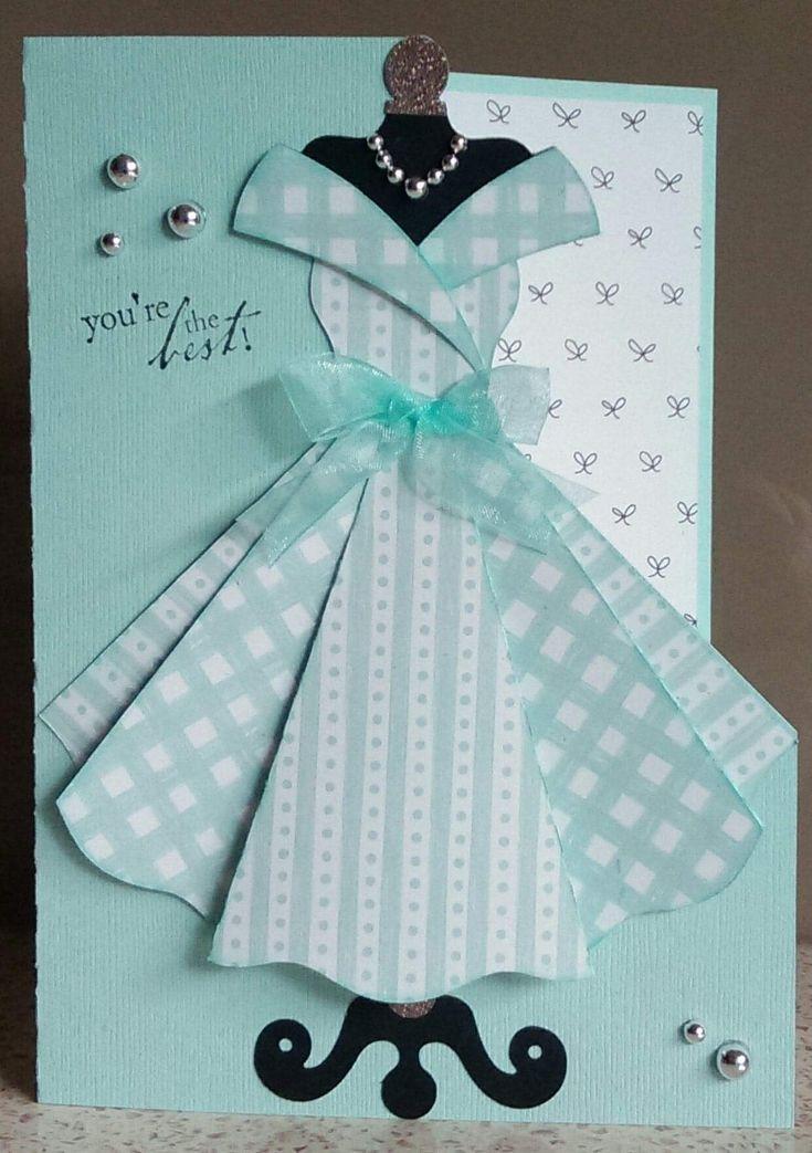 Объемные открытки платье