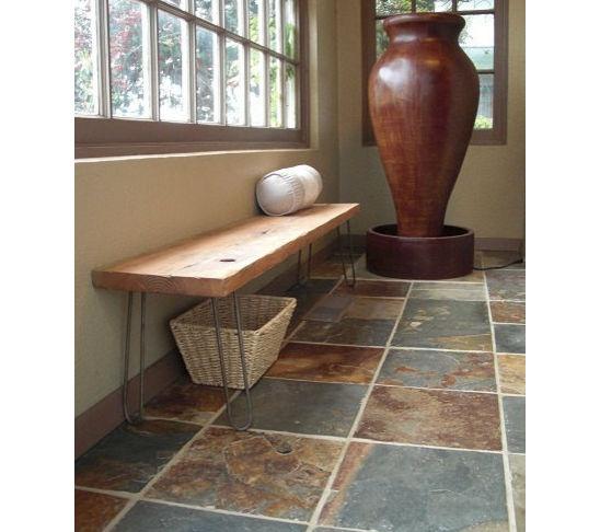 modern reclaimed wood bench