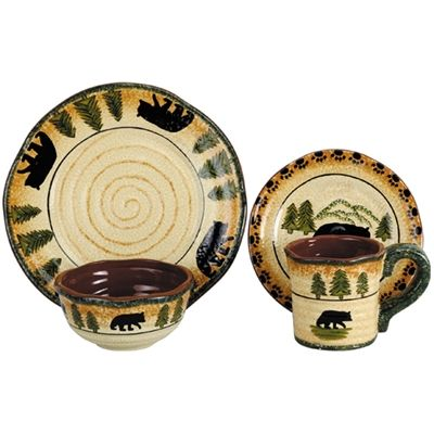 Rustic Bear Lodge Dinnerware Set Western Kitchen and Dining Decor )))  sc 1 st  Pinterest & 25 best Rustic Dinnerware Serveware Canister Sets Placemats images ...