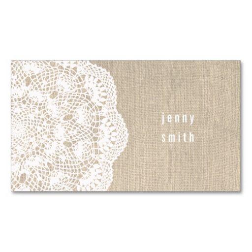 Burlap & Lace Doily Fashion Business Cards
