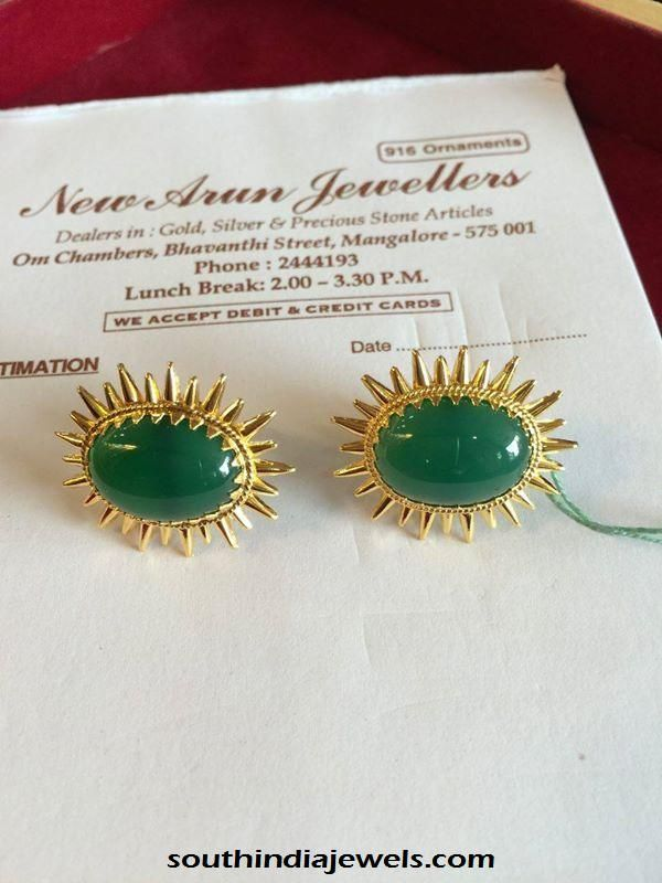 Gold Emerald Stud