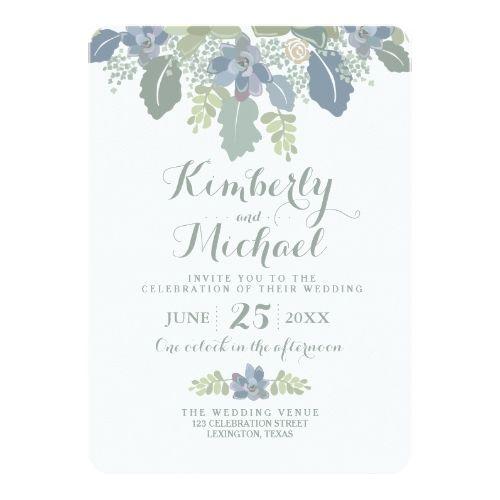 Succulent Bouquet Floral Wedding Invitation