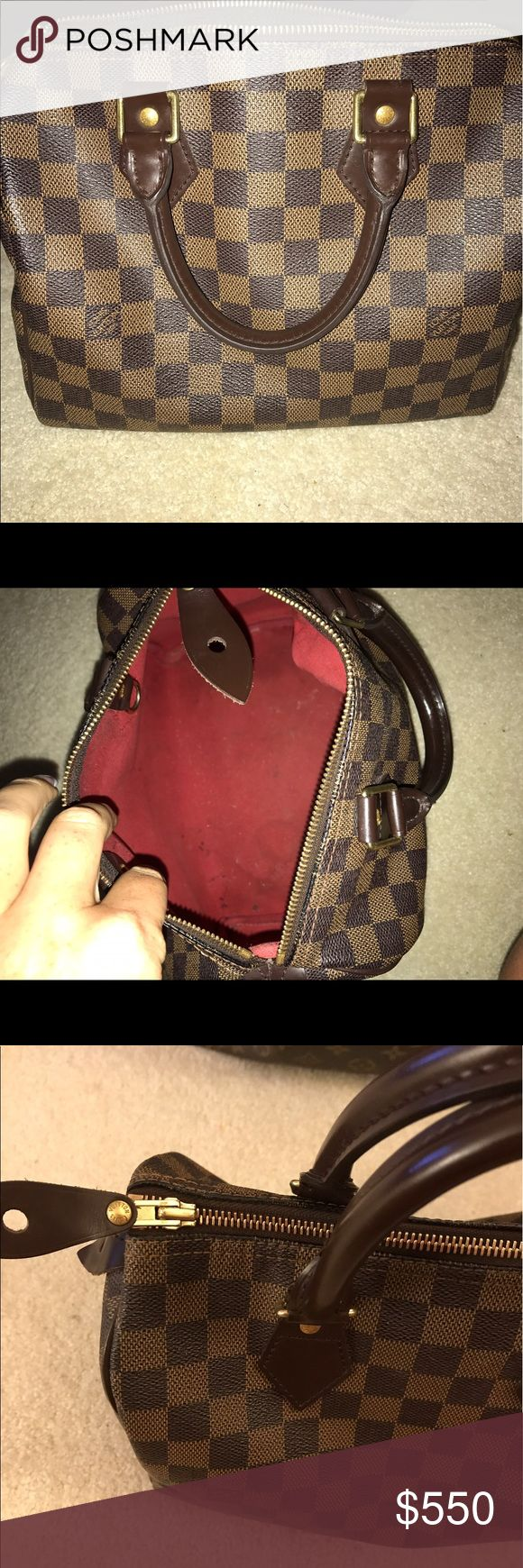 Speedy 25 Damier Authentic speedy 25, in fair condition. No tears or rubbing. Some pen marks/ make up in interior.. nothing major. Pictures of date code included SP0096. Original lock included also. All hardware and leather in good condition, well taken care of. Louis Vuitton Bags Totes