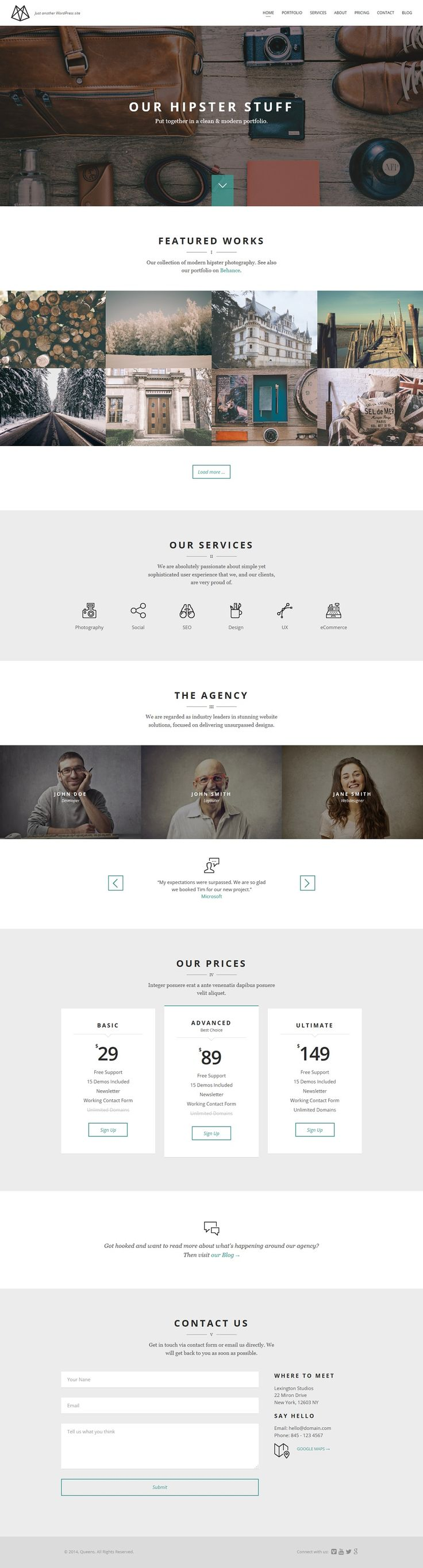 Queens responsive onepage theme from  16+ BEST CREATIVE PORTFOLIO WORDPRESS THEMES 2014