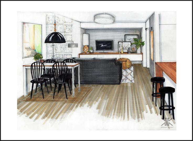Zakázkový interiér Praha_řešení obývacího pokoje a kuchyně na míru