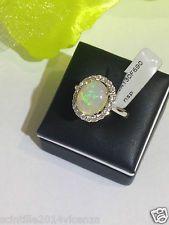 Anello donna in oro bianco 750% 18 kt  diamanti taglio brillante mis 14 opale