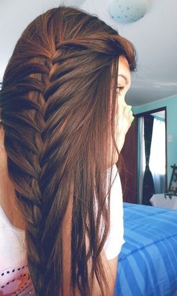 """""""you pull all your hair to the side and only grab from the very outside and bottom strands and keep the hair inside and just do a regular french braid down. Then just leave desired amount of hair out. Supposed to be moderately loose and not pulled tight until you get to the bottom."""""""