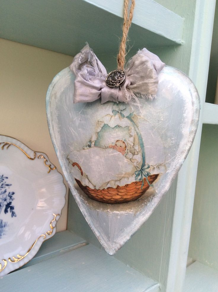 Shabby chic Baby Boy Hanging Heart decoration using Perran Yarns recycled sari silk ribbon in Fairy Dust, made by Ruth. Available to buy on ebay