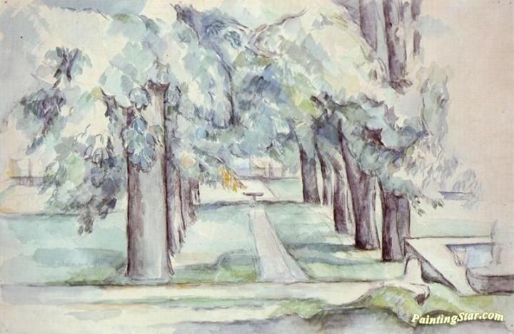 Pool and Lane of Chestnut Trees at Jas de Bouffan Artwork by Paul Cezanne Hand-painted and Art Prints on canvas for sale,you can custom the size and frame