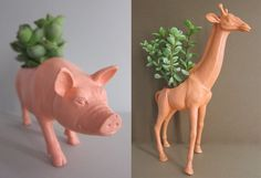 And while you're digging up your old comic books to start your next herb garden, check out these plastic toy dinosaur and animal planters by Plaid Pigeon. Awesome. With this morning's thick layer of ice and my subsequent sidewalk face-plant, can you tell I'm itching for spring? (via space sinkhole)