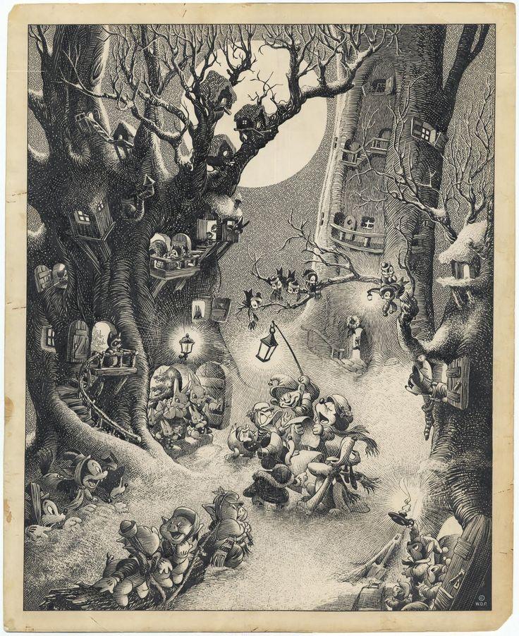 1937 ink masterpiece by Disney artist Hank Porter