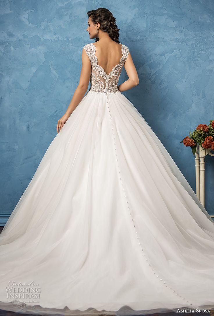 amelia sposa 2017 bridal cap sleevwes bateau neckline heavily embellished bodice romantic princess ball gown a  line wedding dress lace back royal train (sofia) bv