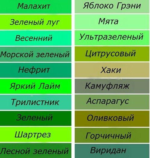 Какие есть оттенки зеленого цвета? Какая палитра, названия ...