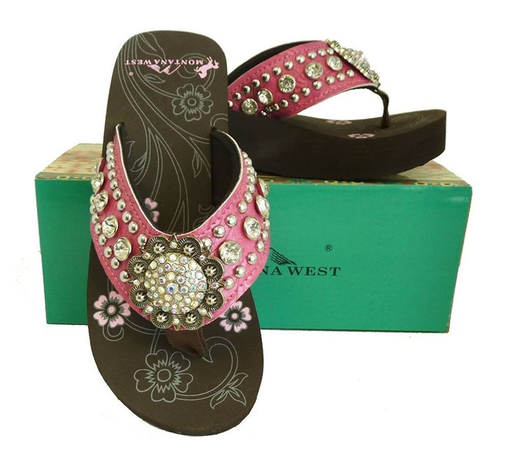 Montana West Ladies Flip Flops Large Rhinestones Floral Concho Pink ** Read more  at the image link.