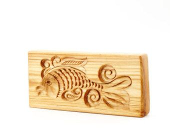 GOLDEN FISH. Wooden presses mold for pressed spice-cake, cookies, springerle cookies, pryanik. Wooden butter mold. Пряничная доска РЫБКА - Edit Listing - Etsy