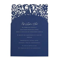 Chartula - A Little Romance Laser Cut Wedding Invitation - Silver on Sapphire Blue - Designer wedding stationery by www.chartula.co.uk