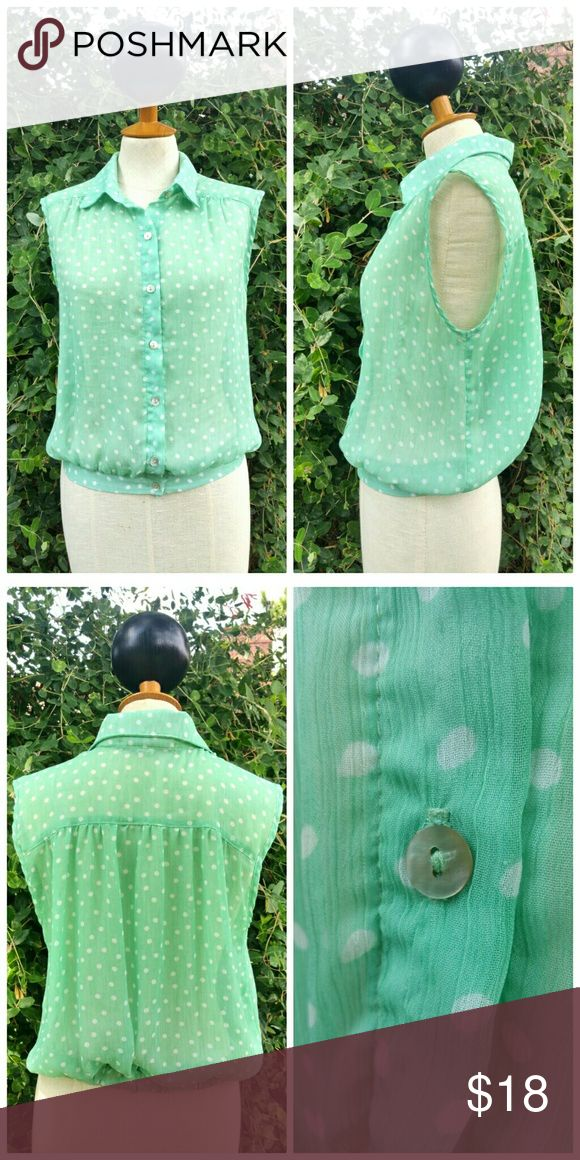 """PRICE DROP American Rag Polka Dots Top Pretty mint green top with white polka dots. Perfect for any casual outdoor events. Pair with a flirty white skirt and flats!  100% polyester  Bust 17"""" Shoulder to bottom 20"""" Measurements are approximate American Rag Tops Blouses"""