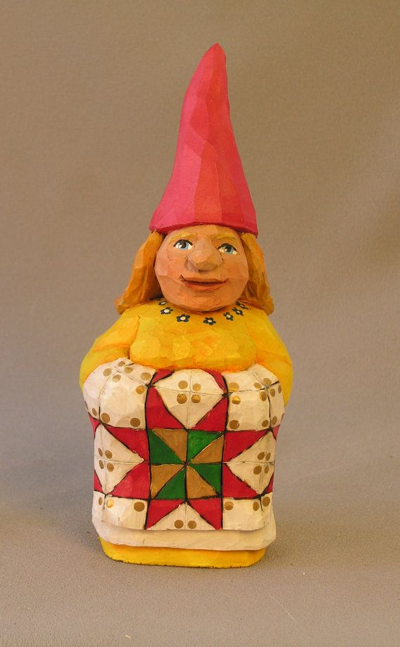 Female Gnome: Female Gnome With Apron And Quilt Hand Carved In By