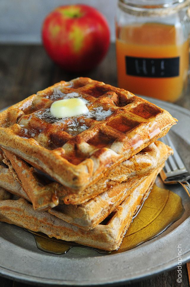 Waffle Recipe - Apple Cider Waffles from addapinch.com