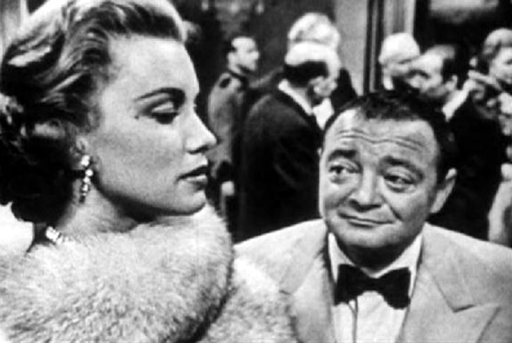 "Linda Christian (as Valerie Mathis) and Peter Lorre (as Le Chiffre) in CBS' ""Casino Royale"" (1954)."