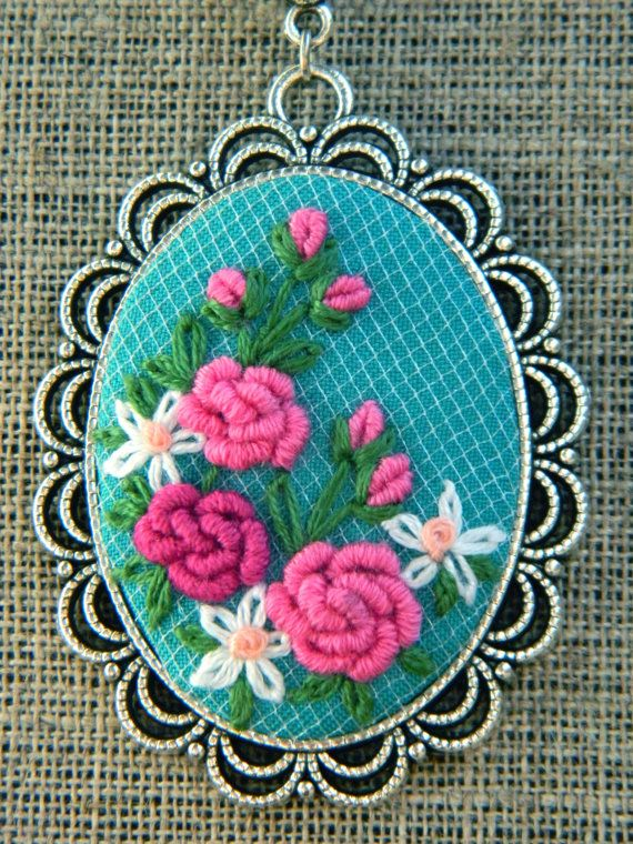 This floral embroidery necklace is your perfect jewel for everyday and holidays! Boho pendant is a wonderfull Christmas gift or Wedding jewelry. It is