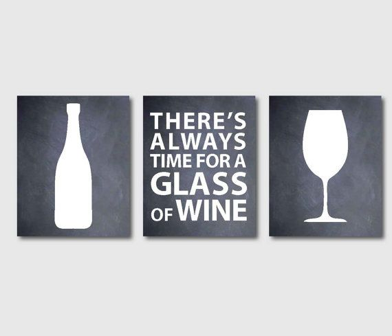 kitchen wall art set of three 8 x 10 or larger prints for wine lovers