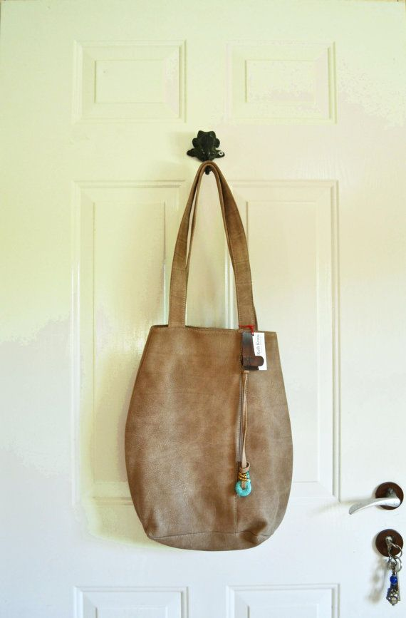 Beige Leather Tote medium sized bag shoulder bag by RuthKraus, $99.00