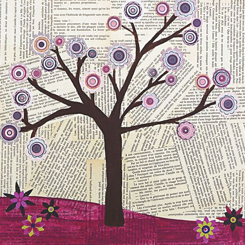 mixed media tree, use pages from the old bible....