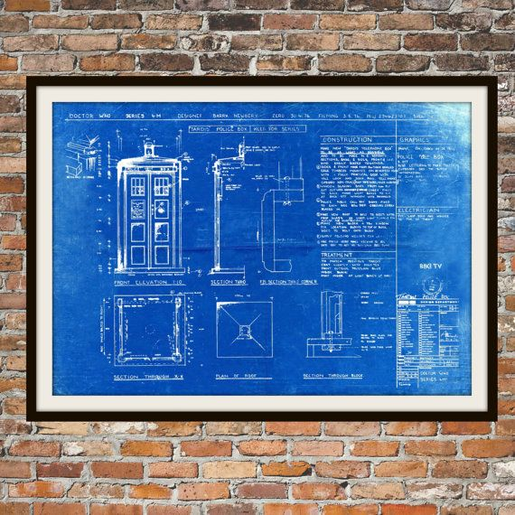 Tardis Print Poster Dr Who Blueprint The Tardis by BigBlueCanoe