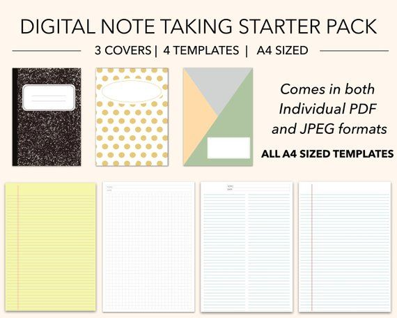 Digital Note Taking Starter Pack 3 Covers 4 Writing Templates Grey Blue A4 Lined Med Grid Columns Legal Goodnotes Notability Note Writing Paper Note Writing Writing Templates