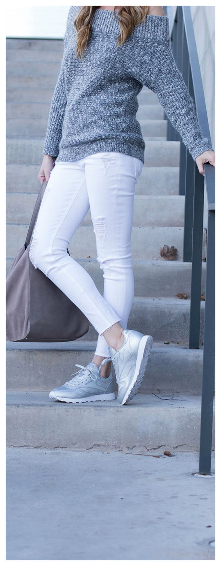 Cozy Style, Comfy Athleisure look with an off the shoulder sweater, white distressed denim, and reebok sneakers. All gray and white athleisure look-Life By Lee