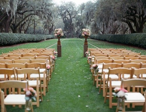 Garden Wedding Theme with Eclectic Outdoor Lighting and Dining Table