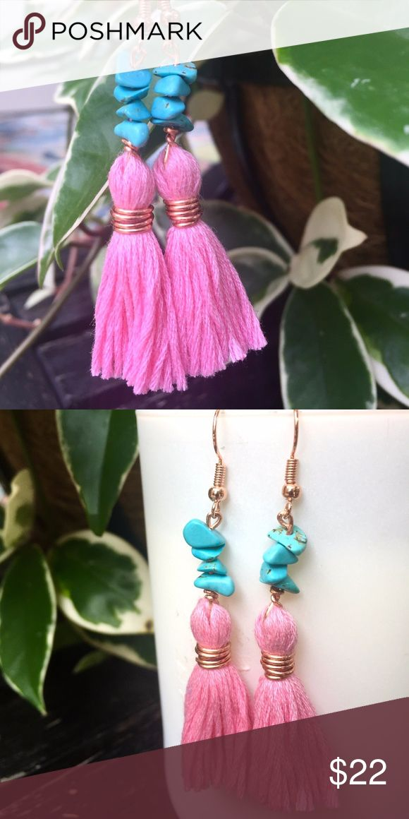 Rose Gold Tassel Earrings with Turquoise These gorgeous tassel earrings are made with love and Ahola!   Tassels are wire wrapped in rose gold and complimented with beautiful turquoise gemstones.   The drop length is 2 inches.  Turquoise:  A purification stone that dispels negative energy and can be worn to protect against outside influences or pollutants in the atmosphere. Jewelry Earrings