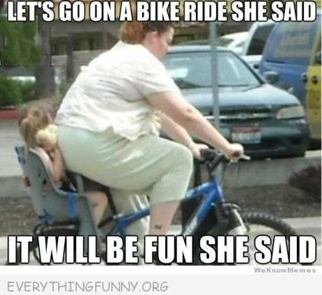 funny caption girl crushed on back of bicycle big mom